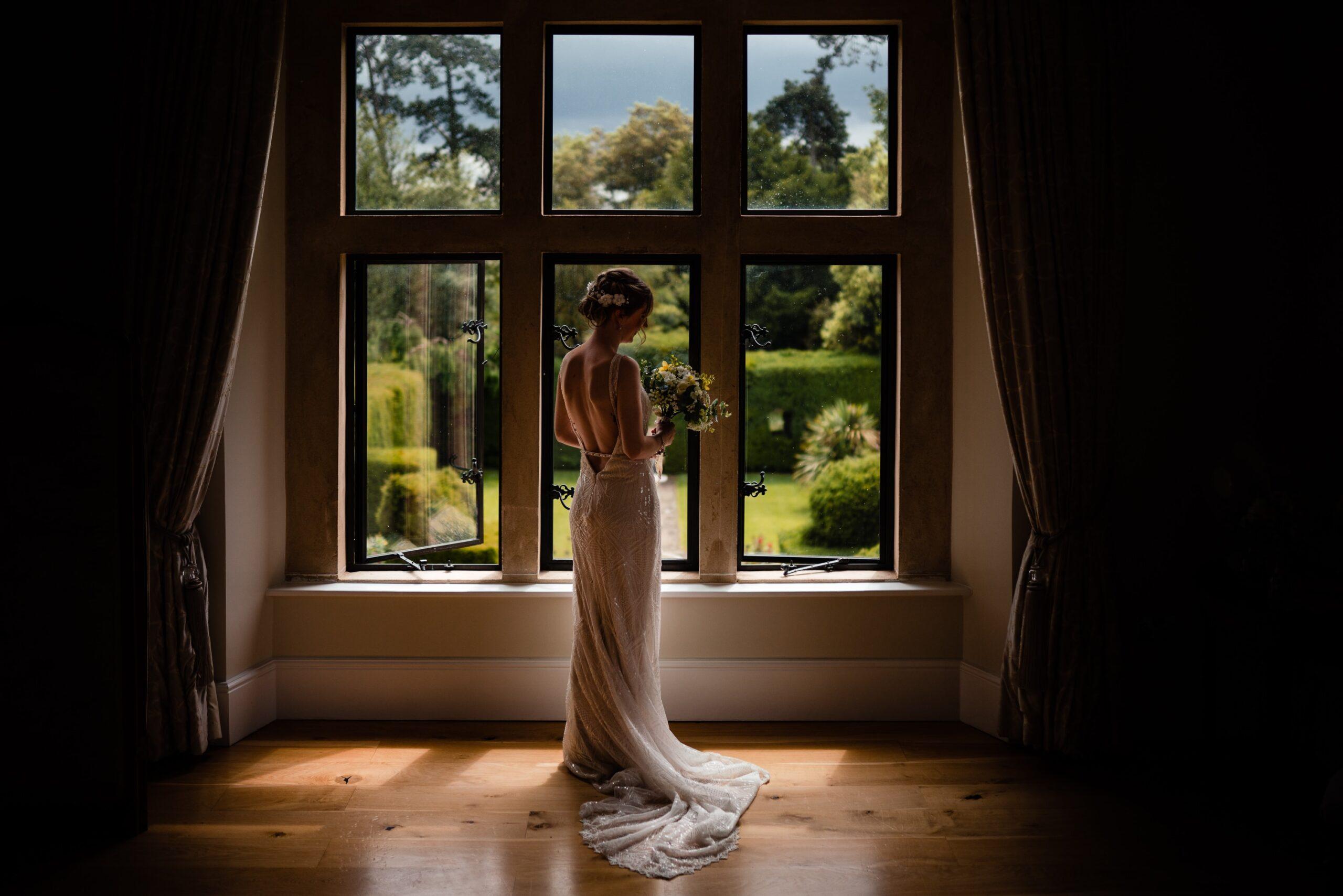 bride by window