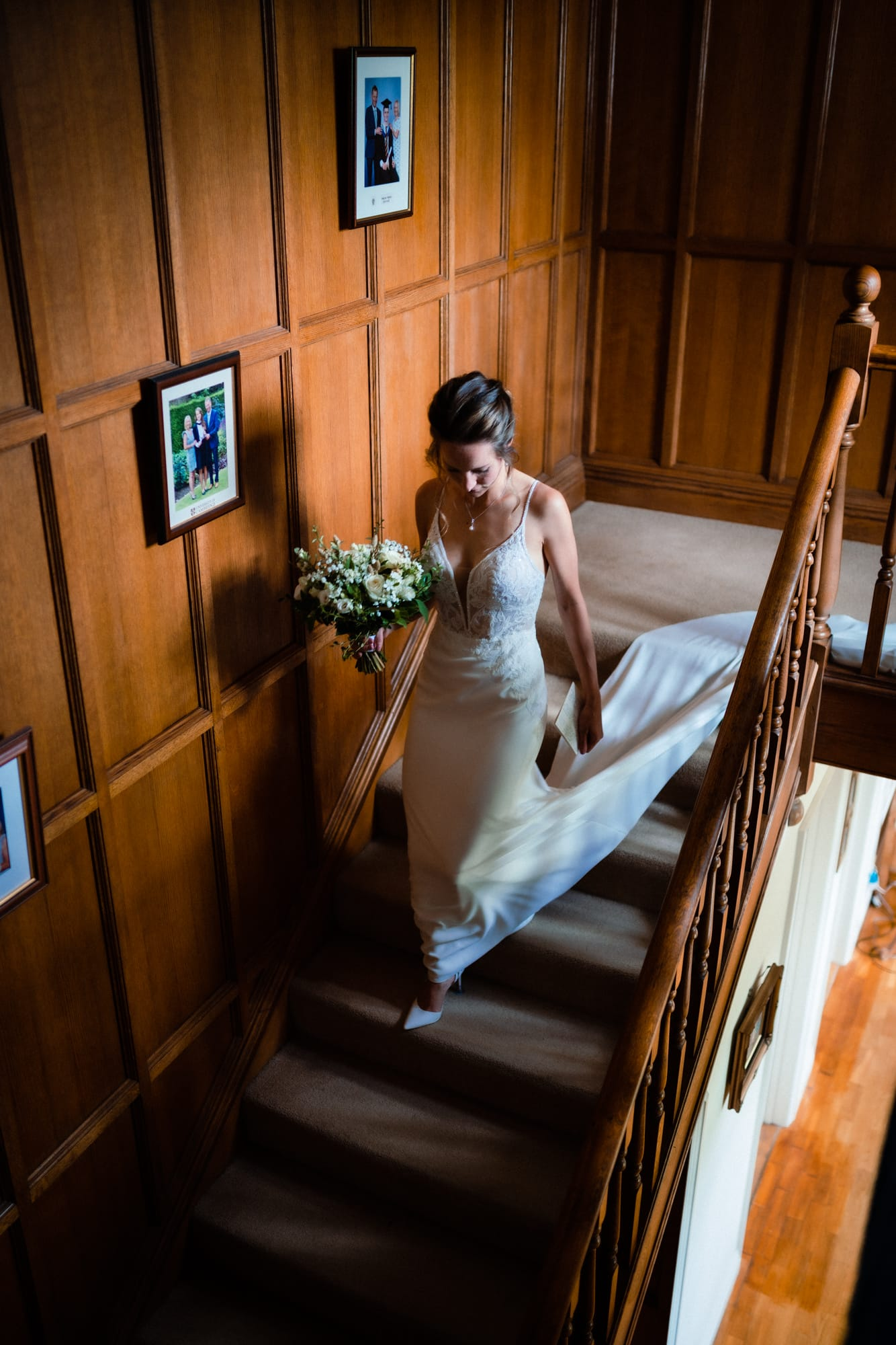 dorset wedding photography bride on stairs