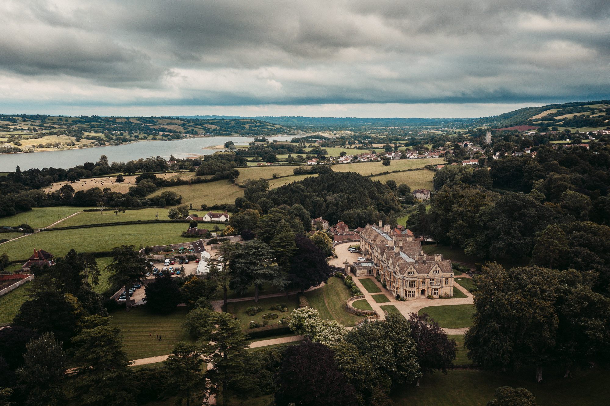 drone shot at coombe lodge