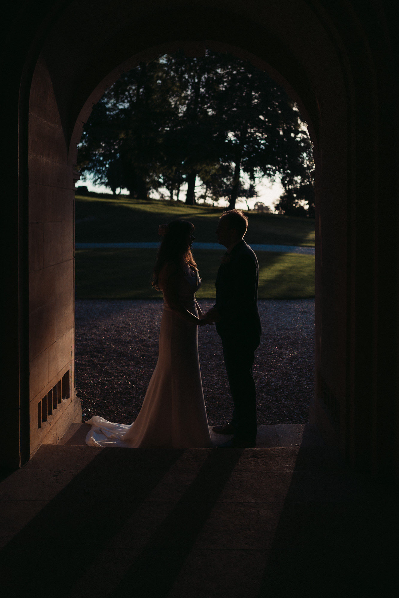 couple in entrance to coombe lodge