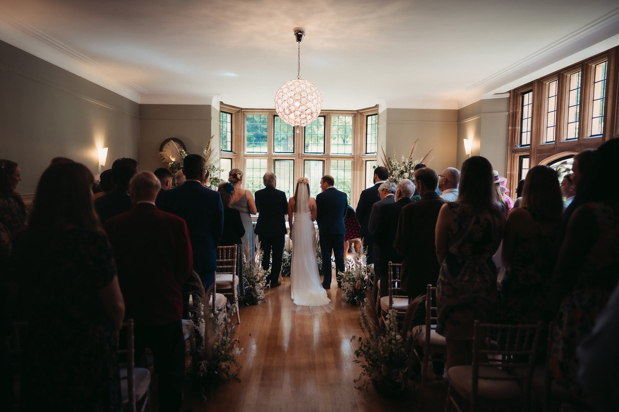 indoor ceremony at coombe lodge