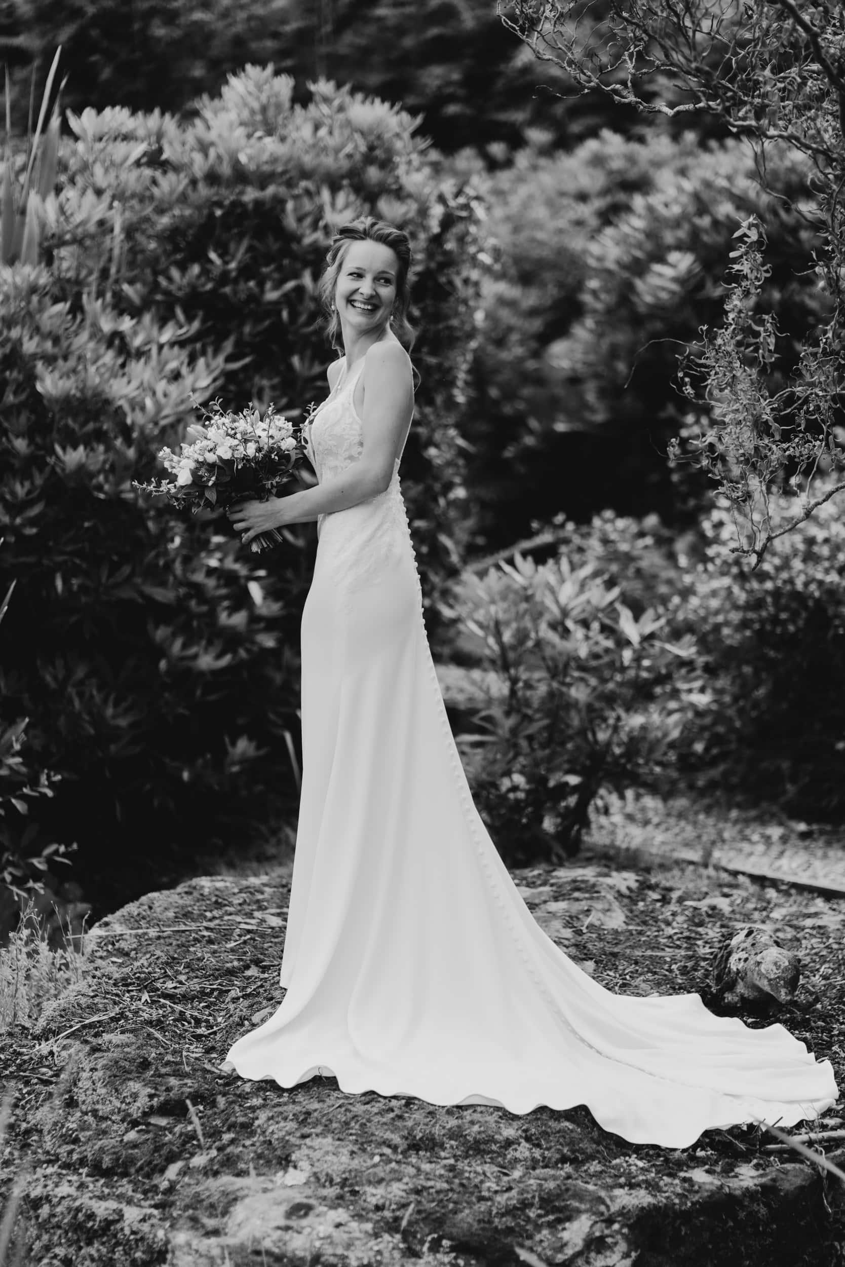 bride posing in garden