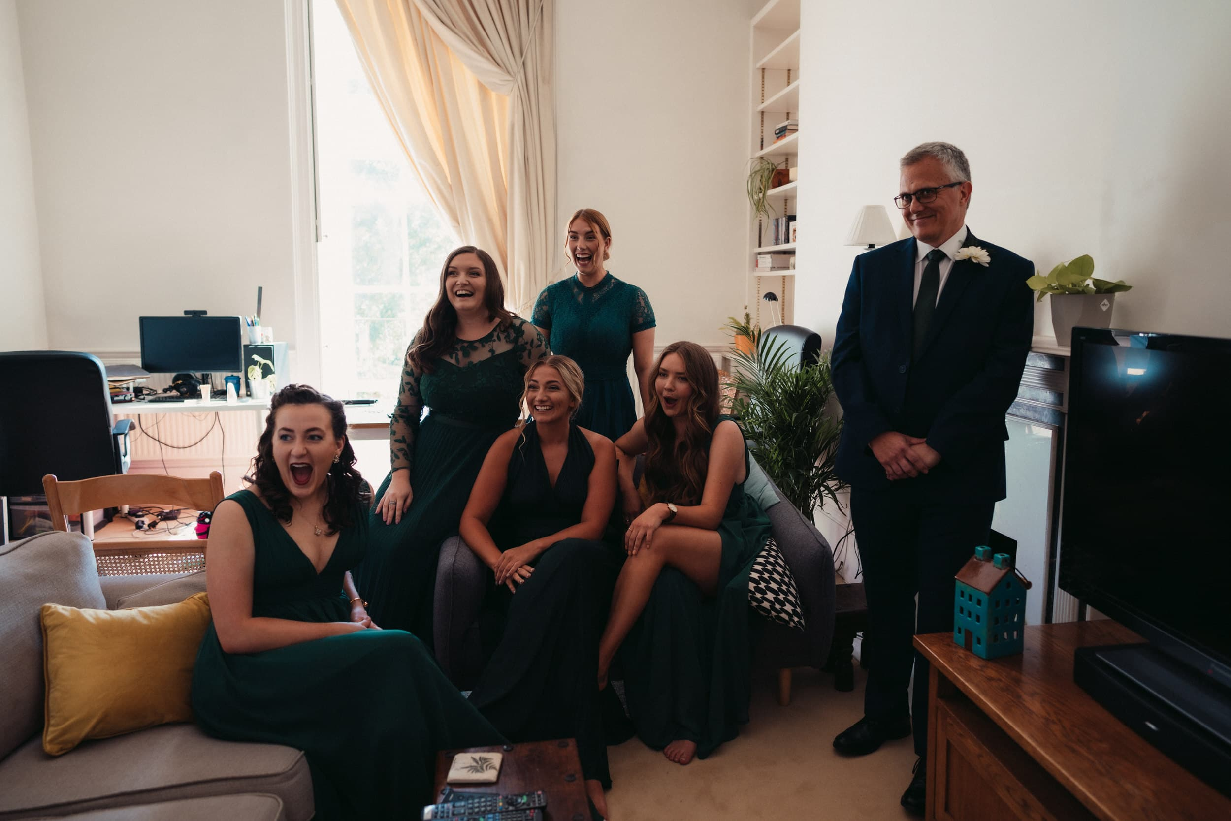 bride reveal to father of the bride and bridesmaids
