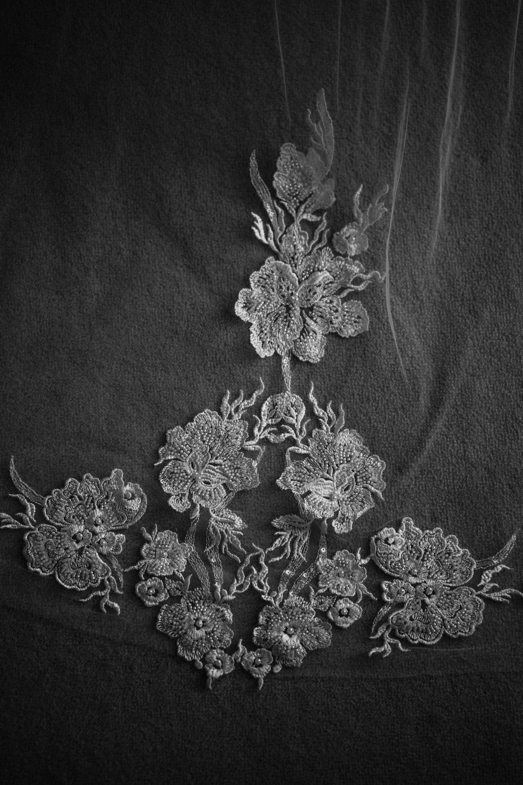 floral details on brides dress