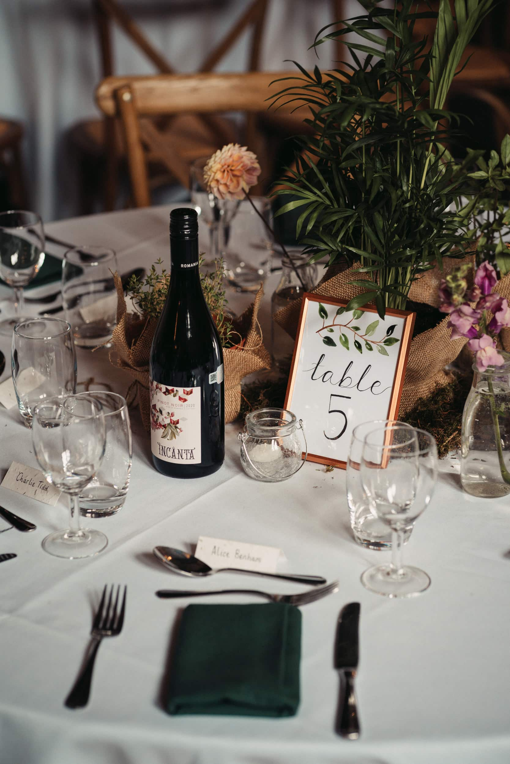 table decorations at rye hill barn